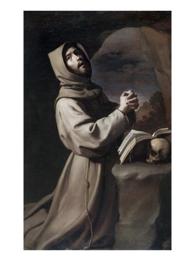 Saint Francis Praying-Francisco de Zurbar?n-Giclee Print