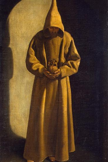Saint Francis with a Skull in His Hands, C.1630-Francisco de Zurbar?n-Giclee Print