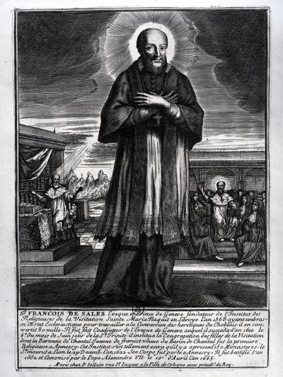 Saint Francois De Sales (1568-1622) (Engraving) (B/W Photo)-French-Giclee Print