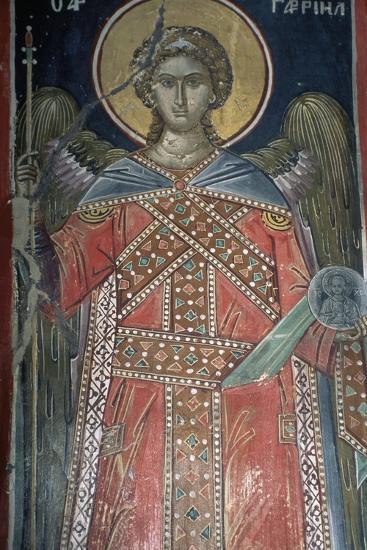 Saint, Fresco, Roussanou Monastery, also known as Agia Varvaras Roussanou Monastery--Giclee Print