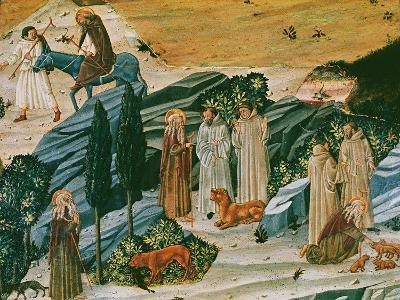 Saint Gerasimus in the Thebaid Desert with the Lion He Tamed by Removing a Thorn from its Paw--Giclee Print