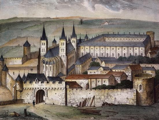 Saint-Germain-Des-Pres Abbey in Paris Lithograph--Giclee Print