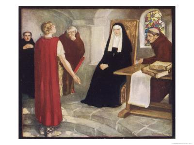 Saint Hilda of Whitby Anglo-Saxon Abbess Receiving a Visit from Caedmon-Stephen Reid-Giclee Print
