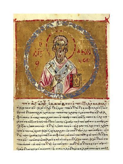 Saint James, Detail, Byzantine Miniature from the Code of Queen Constance, Greek Manuscript--Giclee Print