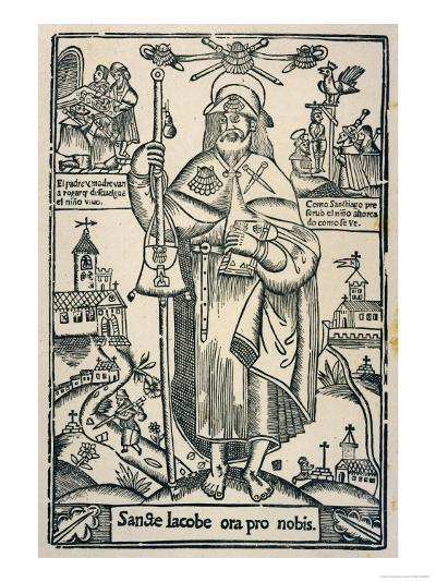 Saint James the Great in the Traditional Costume of a Pilgrim to Compostella in Northern Spain--Giclee Print