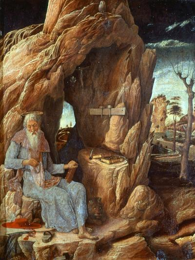 Saint Jerome, 341-420 AD, as Hermit in a Cave-Andrea Mantegna-Giclee Print