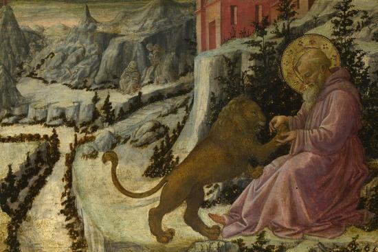 Saint Jerome and the Lion (Predella Panel of the Pistoia Santa Trinità Altarpiec), 1455-1460-Fra Filippo Lippi-Giclee Print