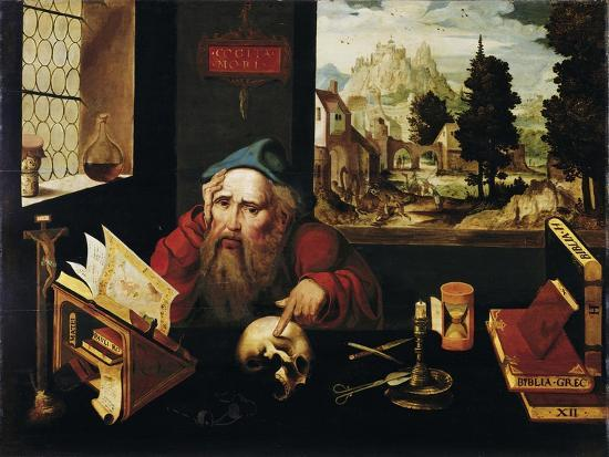 Saint Jerome in His Cell, 1520S-Joos Van Cleve-Giclee Print