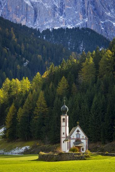 Saint Johann Church Below the Geisler Spitzen, Val Di Funes, Italy-Brian Jannsen-Photographic Print