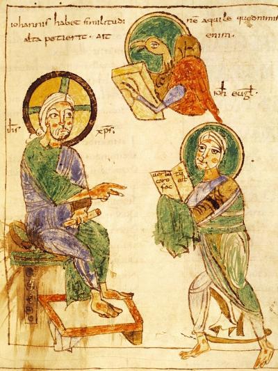 Saint John the Evangelist, Miniature from a Gospels, Latin Manuscript, 8th Century--Giclee Print