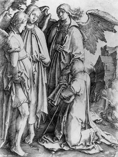 Saint Kneeling before Angels--Giclee Print