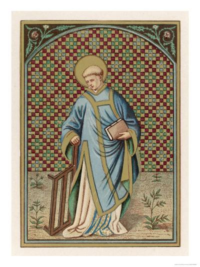 Saint Laurence of Rome Depicted with the Grid on Which He Will Soon be Martyred--Giclee Print