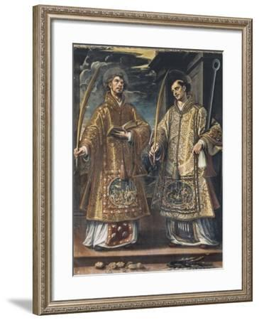 Saint Lawrence and Saint Stephen-Alonso Sanchez Coello-Framed Art Print