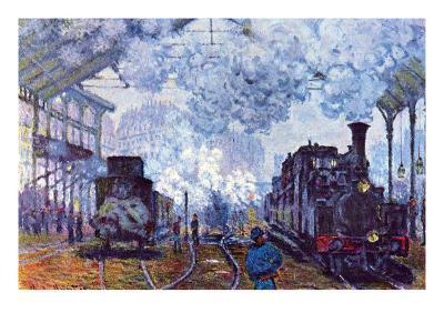 Saint Lazare Station in Paris, Arrival of a Train-Claude Monet-Art Print