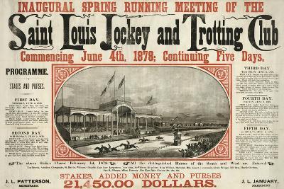 Saint Louis Jockey and Trotting Club Race Announcement--Giclee Print