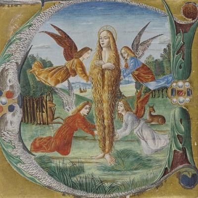 Saint Mary Magdalen Surrounded by Angels- Maestro del Salomone Wildenstein-Giclee Print