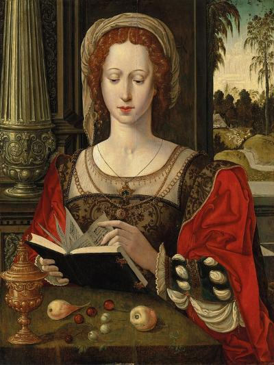 Saint Mary Magdalene Reading, at a Table with Fruit and a Golden Tazza--Giclee Print