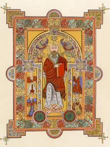 Saint Matthew, an Illuminated Manuscript Page from the Book of Kells, 8th or 9th Century Ad