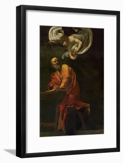 Saint Matthew Writing, Inspired by an Angel, 1600-1602-Caravaggio-Framed Premium Giclee Print