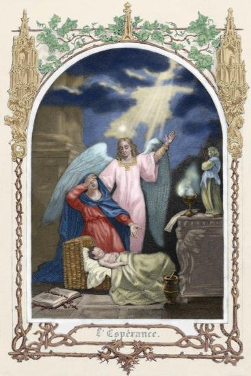 Saint Monica (331-387 A.D.) Trusting God Saves Her Son. Allegory About Hope. Colored Engraving--Giclee Print