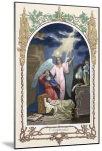 Saint Monica (331-387 A.D.) Trusting God Saves Her Son. Allegory About Hope. Colored Engraving