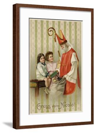 Saint Nicolas of Myra Depicted as Santa Claus, Distributing Presents to Children--Framed Giclee Print