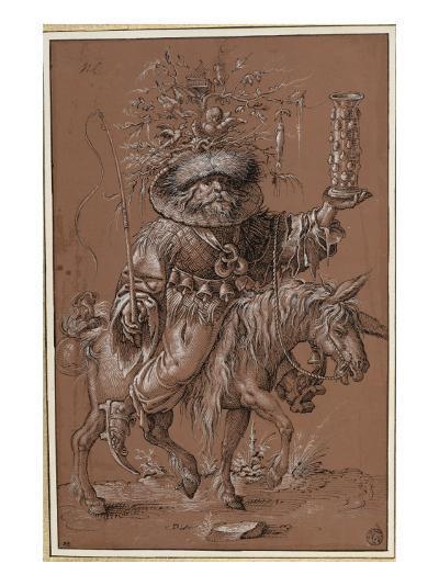 "Saint Nicolas sur un âne, costumé en ""Vielfrass"" ou glouton-Jost Amman-Giclee Print"