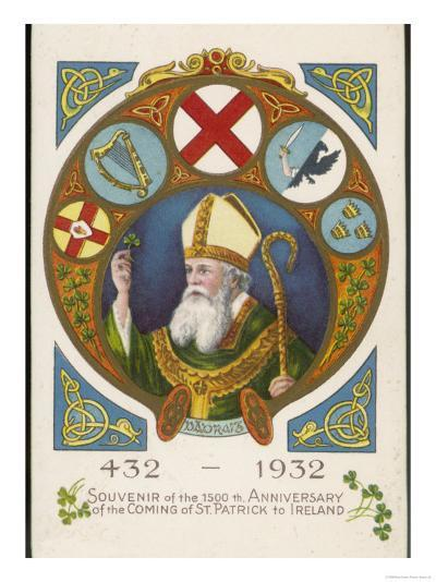 Saint Patrick Postcard Commemorating His Coming to Ireland 1500 Years Previously--Giclee Print