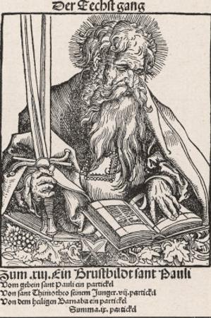 Saint Paul of Tarsus Rabbi Tentmaker Missionary Reading Book Swords in Hand