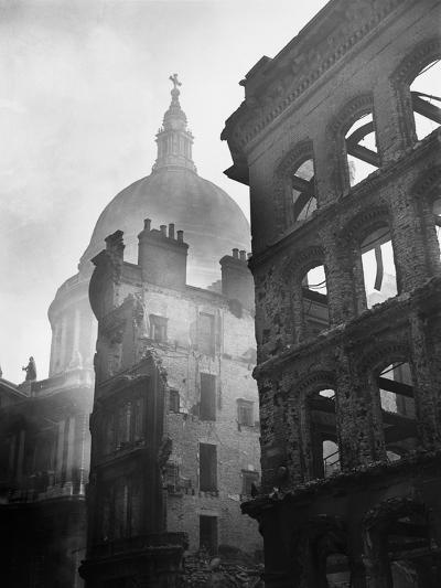 Saint Paul's Cathedral Admist Ruins--Photographic Print