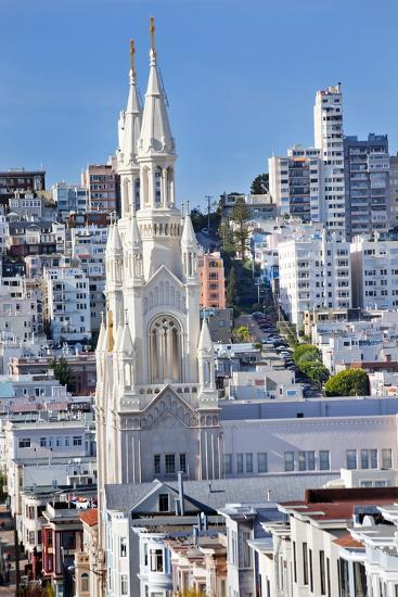 Saint Peter and Paul Catholic Church Steeples Houses San Francisco, California-William Perry-Photographic Print