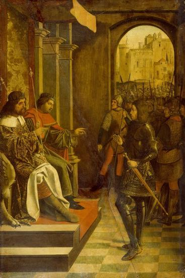 Saint Sebastian before the Roman Emperors Diocletian and Maximianus, 1497--Giclee Print