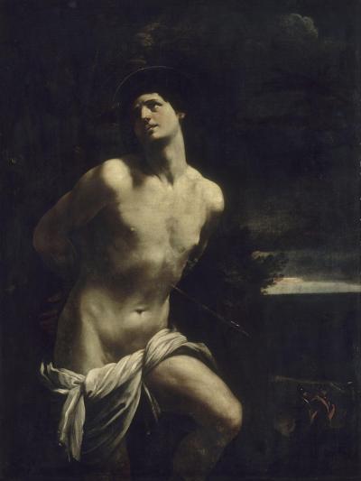 Saint Sébastien martyr dans un paysage-Guido Reni-Giclee Print
