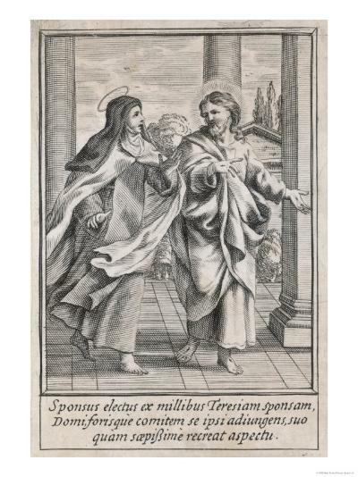 Saint Teresa of Avila Carmelite Talks with Christ in Her Vision--Giclee Print