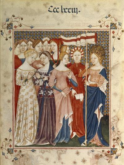Saint Ursula and Her Companions, Miniature from the Book of Hours, Lombardy, Italy 14th Century--Giclee Print