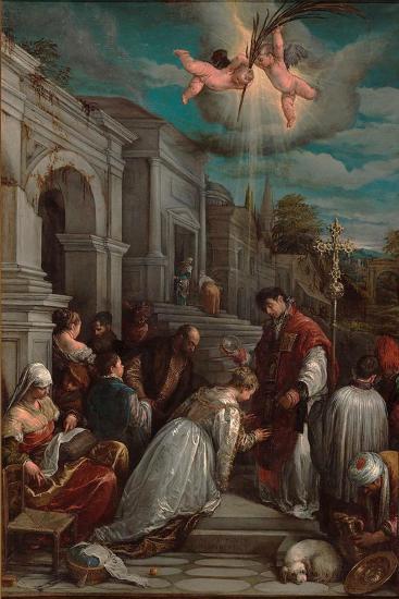 Saint Valentine Baptizing Saint Lucilla, 1575-Jacopo Bassano-Giclee Print