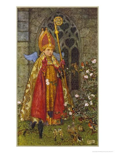Saint Valentine Depicted Here as Boy Bishop-Eleanor Fortescue Brickdale-Giclee Print