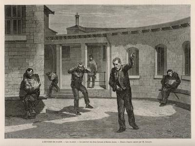 Sainte-Anne Asylum on the Outskirts of Paris, The Quarter for Violent and Insane Patients-A. Lancon-Premium Giclee Print