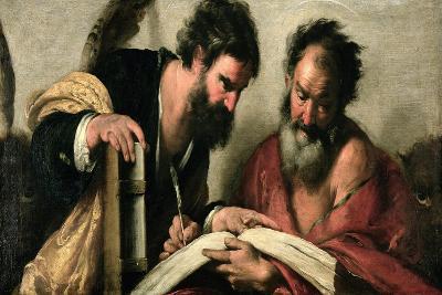 Saints John the Evangelist and Mark Discussing their Writings-Bernardo Strozzi-Giclee Print