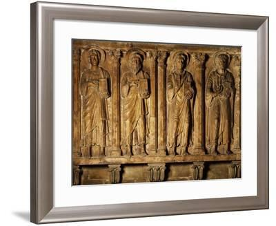 Saints, Red Marble Bas-Relief by Campione Master, Left Aisle of Milan Cathedral, Italy--Framed Giclee Print