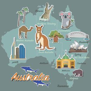 Australia Map and Travel Icon Eps 10 Format by Sajja