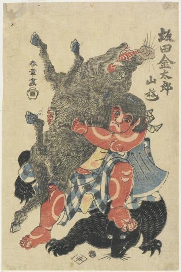 Sakata Kintaro Playing with Wild Animals in Mountain, Late 18th Century-Katsukawa Shunsho-Giclee Print