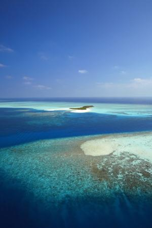 Aerial View of Tropical Island and Lagoon, Maldives, Indian Ocean, Asia by Sakis Papadopoulos