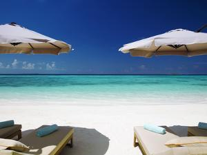 Deck Chairs and Tropical Beach, Maldives, Indian Ocean, Asia by Sakis Papadopoulos