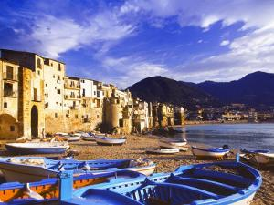 Fishing Boats on the Beach, Cefalu, Sicily, Italy, Mediterranean, Europe by Sakis Papadopoulos