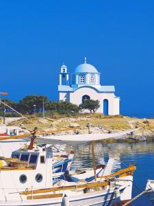 Fishing Boats with a Chapel in Background, Chios Island, Greek Islands, Greece, Europe by Sakis Papadopoulos