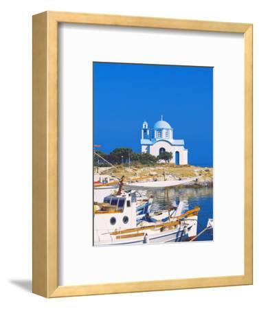 Fishing Boats with a Chapel in Background, Chios Island, Greek Islands, Greece, Europe