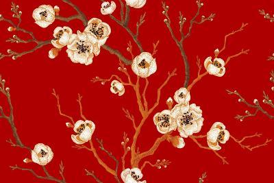Sakura Branch on Red Background. Vector Seamless Pattern. Floral Design Oriental Style. Vintage. Bl-mamita-Art Print