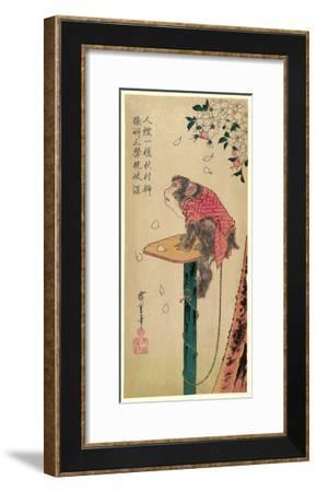 Sakura Ni Tsunagizaru-Utagawa Hiroshige-Framed Giclee Print