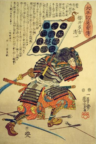 Sakuri Takichi Kiyokazu While Delivering a Blow with His Naginata-Kuniyoshi Utagawa-Giclee Print